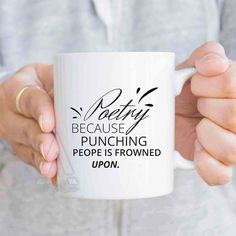 """Gifts for Poets """"Poetry because punching people is frowned upon"""" funny coffee mug, poet mug, gifts for aspiring poets, gift for author MU501 by artRuss on Etsy"""