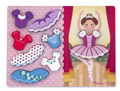 Melissa & Doug Ballerina Dress-Up Wooden Chunky Puzzle pcs) Preschool Puzzles, Puzzles For Kids, Wooden Puzzles, Wooden Toys, Ballerina Dress, Ballerina Party, Melissa & Doug, Pretend Play, Decorating Blogs
