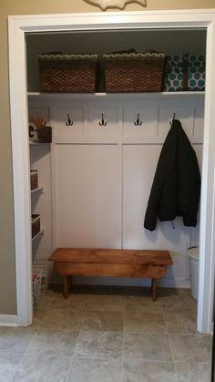 Coat closet turned into a mini mudroom