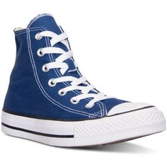 Converse Women's Chuck Taylor Hi Casual Sneakers from Finish Line ($60) ❤ liked on Polyvore featuring shoes, sneakers, roadtrip blue, vintage footwear, lined shoes, blue shoes, converse trainers and converse sneakers