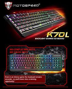 MotoSpeed K70L 7-Color Backlight Gaming Keyboard USB Powered for Desktop Laptop