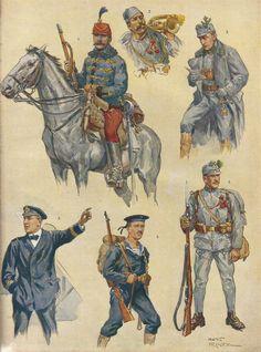 Hussar, Bosnian Horner, Mountain officer, Marine officer, Sailor, Foot soldier Army Uniform, Military Uniforms, Military Art, Military History, Marine Officer, Austrian Empire, German Uniforms, Austro Hungarian, War Photography