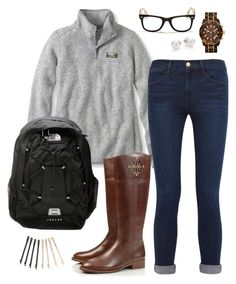 """""""Cute and warm school outfit"""" by robramey17 ❤ liked on Polyvore featuring Frame Denim, Mikimoto, MICHAEL Michael Kors, Tory Burch, The North Face, Ray-Ban and ban.do"""