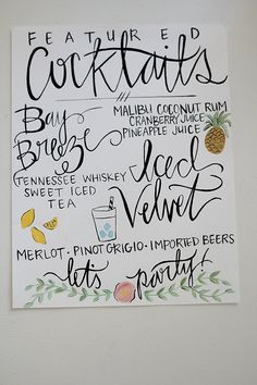 Hand Painted Wedding Decor - Calligraphy / Illustrated Signage - Customizable.