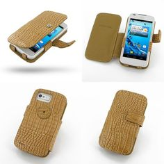 PDair Leather Case for Acer Liquid Gallant Duo E350 - Book Type (Brown/Crocodile Pattern)