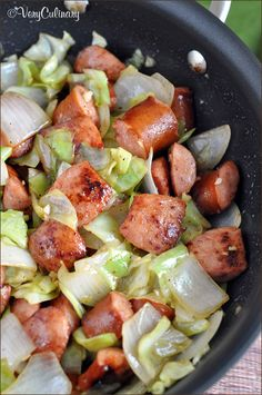 Low carb cabbage recipes Kielbasa and Cabbage Skillet Gluten free • Serves 4 Meat: 2 lbs Polska kielbasa, fully cooked Produce: 3 cloves Garlic 1 Head cabbage 1 Sweet onion, large Condiments: 1 tsp Dijon or brown grainy mustard Baking & Spices: t Pork Recipes, Slow Cooker Recipes, Paleo Recipes, Cooking Recipes, Easy Recipes, Delicious Recipes, Recipies, Crockpot Cabbage Recipes, Healthy Cabbage Recipes