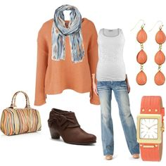 Plus Size - Peach and Aqua by intcon on Polyvore featuring Standards & Practices, Antia, Paul Smith, Nine West, MANGO, aqua scarf, plus size, jewelry, brown wide width boots and peach sweater