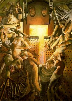 Still Life - Stanley Spencer - WikiArt.org. Shipbuilding on the Clyde Furnaces.