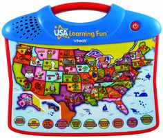 Travel the 50 States with the VTech's interactive USA Explore & Learn Map! This toy introduces geography to preschoolers in a fun and interactive way. The map teaches state names state flowers state...