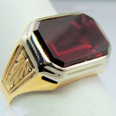 Natural Emerald Cut Blood Red Ruby Vintage Ring Solid Yellow White Gold in Jewelry & Watches, Men's Jewelry, Rings Antique Rings, Vintage Rings, Antique Jewelry, Vintage Jewelry, White Gold Jewelry, Gold Rings, Sapphire Pendant, Blue Sapphire, Ruby Earrings