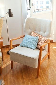 Danish modern chair in neutral fabric + powder blue + rust orange