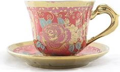 Ambilight Porcelain 6-ounce Coffee Cup and Saucer Red Chintz with Gold Trim,set of 1,Red,E1(1),outstanding decorative cups