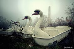 Morning fog at an abandoned amusement park in Germany.