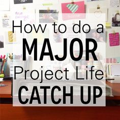 How To Do a Major Project Life Catch Up by Lauren Likes I don't do weekly LO's but these are good tips for organizing and getting pages done. Project Life Organization, Project Life Planner, Project Life Karten, Project Life Travel, Project Life Baby, Project Life Freebies, Project Life Scrapbook, Project Life Album, Project Life Layouts