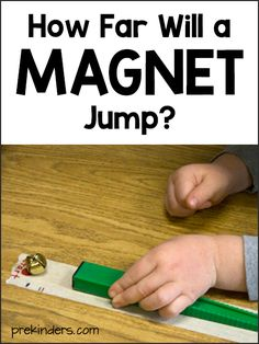 Experiments How Far Will a Magnet Jump? Science Activity for PreschoolHow Far Will a Magnet Jump? Science Activity for Preschool Preschool Science Activities, Science Week, Science Activities For Kids, Science Experiments Kids, Science Classroom, Science Centers, Summer Science, Kid Science, Earth Science