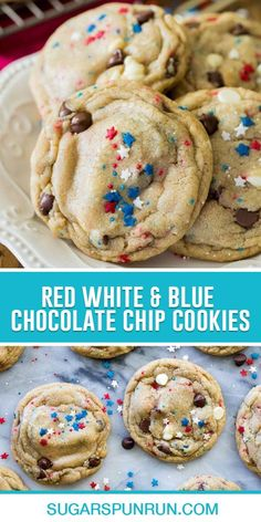 The perfect fun and patriotic treat for your Fourth of July party, these Red, White, and Blue Chocolate Chip Cookies are packed full of festively colored sprinkles and plenty of white and semisweet chocolate chips! They're made with melted butter and a touch of cornstarch to be as soft and chewy as possible. 4th Of July Desserts, Easy Desserts, Dessert Recipes, Easy Chocolate Chip Cookies, Chocolate Chips, Easy Cookie Recipes, Baking Recipes, Blue Chocolate, Good Food