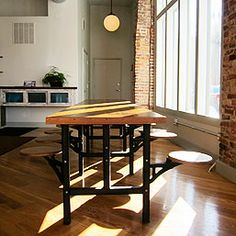 Industrial Cafeteria Table - would LOVE to find one....don't know where I'd put it though.