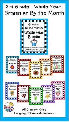 Covers all Third Grade Common Core language standards from August to May for the whole year! Skills are spiraled to keep them fresh! Thematic topics tie into each month's holidays and historical events. A fun way to learn grammar! $