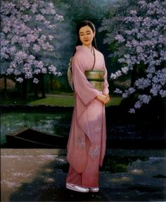 Hand-painted Figure Oil Painting - Japanese Girl