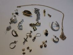 Lot of Jewlery for Repair or Wear Sarah Coventry Necklace Single Earrings Pins