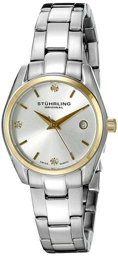 Stuhrling Original Women     s    L    Classic Ascot Prime Swiss Quartz Date Watch with Swarovski Crystals