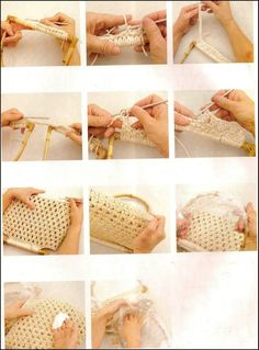 crochelinhasagulhas: Bolsa em crochê com alça de madeira