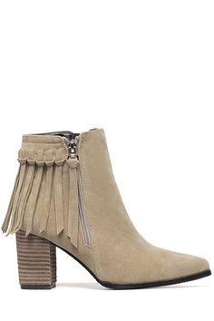 Pure Color Zipper Tassel Ankle Boots - a chunky heeled ankle boot in a neutral color goes with anything, and the fringe gives it a bit of attitude :)