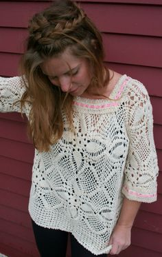 Crotchet top made from upcycled materials