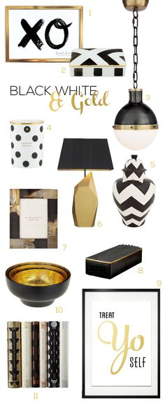 Black, White and Gold for inside never get old and are so chique!