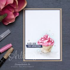 Geburtstagskarte - Stampin' Up! - Global Design Project - Cupcake für dich - Aquarelle - Stempelwiese