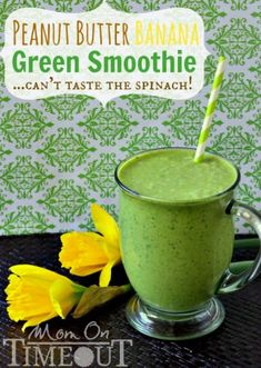 Peanut Butter Banana Green Smoothie | MomOnTimeout.com - The peanut butter and banana mask the taste of spinach so all you end up with a delicious, healthy breakfast!