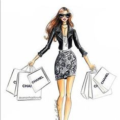 Chanel shopping spree fashion illustration by samanthaeforsyth - Prints available at Be Inspirational Mz Manerz Being well dressed is a beautiful form of confidence happiness politeness Moda Fashion, Fashion Art, Girl Fashion, Fashion Dresses, Fashion Trends, Fashion Illustration Sketches, Illustration Mode, Fashion Sketches, Fashion Design Illustrations