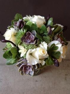 Purple, White & Green Wedding Flowers