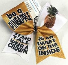 Be a Pineapple Stand Tall Wear a Crown & Be Sweet Sublimated Glitter Cheer Bow
