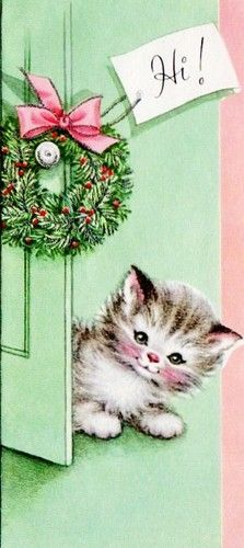 vintage Christmas card kitten peeking around door