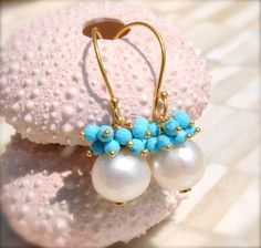 Pearl and Turquoise Cluster Earrings for by LillyputLaneDesignCo