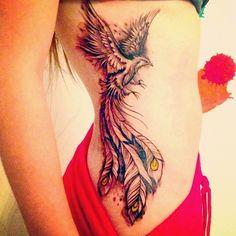 40 Amazing Phoenix Tattoos and Meanings Tattoos Motive, Side Tattoos, New Tattoos, Body Art Tattoos, Tribal Tattoos, Sleeve Tattoos, Tattoo Symbols, Tattoos Skull, Tatoos