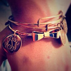 Monogrammed Bow Bracelets! Available in gold or silver tone! #armparty