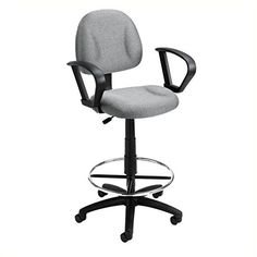 Boss Office Products B1617 BK Ergonomic Works Drafting Chair With Loop Arms  In Black