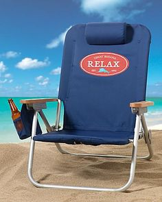 Tommy Bahama Orange Deluxe Backpack Beach Chair 58