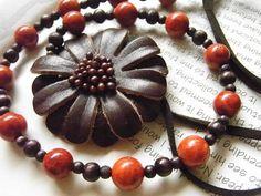 saleハンドメイド 革花のネックレス 8490 Handmade necklace ¥1yen 〆04月02日