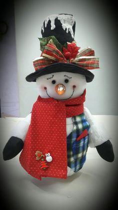 Pote reciclado boneco de neve