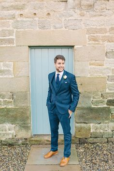Groom in Navy Suit - Cripps Barn Healey Wedding   Image by Sarah-Jane Ethan…