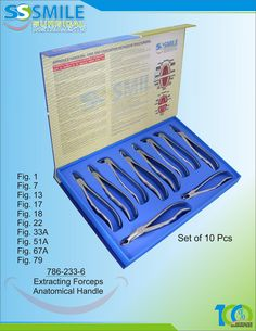 Dental Extracting Forceps With Anatomical Handle Set of 10 Pieces. Premium Quality Instruments At Highly Competitive Prices.ie sales Dental, Instruments, Handle, Smile, Tools, Smiling Faces, Dentistry, Teeth, Musical Instruments