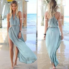 Summer Women Bandage Deep V-Neck Beach Boho Maxi Sundress Party Long Dress Blue #Unbranded
