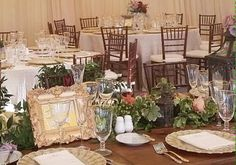 Close up view of head table at a September wedding reception at Castle Hill Inn