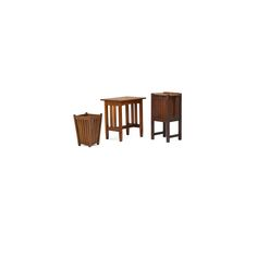 """Stickley Brothers side table, Arts & Crafts wastebasket and nightstand, USA, 1910s Side table: 26"""" x 24"""" x 18"""", nightstand: 30"""" x 20"""" x 13"""", wastebasket: 19"""" x 12 1/2"""". STICKLEY BROTHERS ETC. 