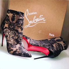 Christian Louboutin Gipsy Zippered Black Lace Booties