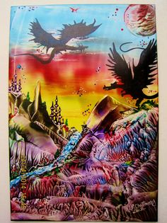 Encaustic Art using beeswax and travel iron and stylus,size A6,IMG 1374,Titled-DRAGONS AT DAWN.Done2014.By Peter Chattaway.uk.
