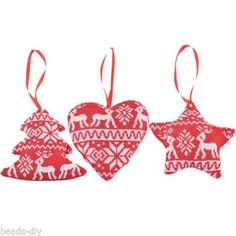 4PCS BD  Mixed Random Star Heart Christmas Tree Decoration Xmas Supplies 12x12cm